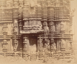 Close view of base of southern façade of the sanctuary, Sari Deul Temple, Bhubaneshwar